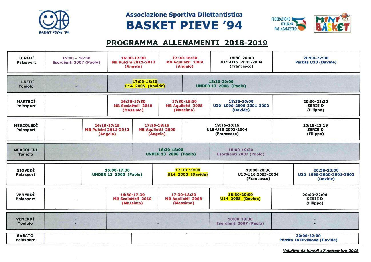 Programma allenamenti 2018 2019 A